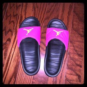 Jordan pink sandals!!